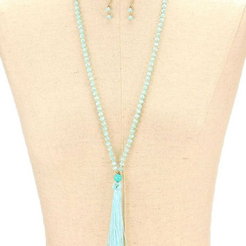 Gold & Aqua Thread Tassel Pendant Glass Bead Long Necklace and Earring Set