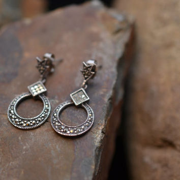 Sterling Silver and Marcasite Dangle Earrings with Loop