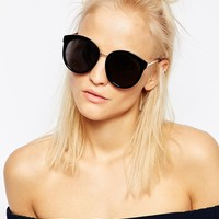 ASOS Oversized Round Preppy Sunglasses With Metal Sandwich at asos.com
