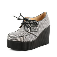 2014 Fashion Handmade Comfortable Gray Stripe Women's Lace UP High Heels Flat PlatForm Goth Creepers Punk Wedge Casual Shoes Boots