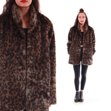 Leopard Faux Fur Coat Silky Soft Brown and Black Club Kid Boho Chic Winter Outerwear 90s Vintage Clothing Womens Size Medium Large