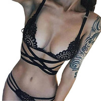Sexy Women Bandage Intersect Strap crochet Lace 1PC Crop Top+1PC Briefs Set Strappy Lace Floral Hollow Out Cropped Camis#23 SM6