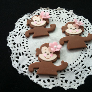 Monkey with Pink Flower Decorations, Baby Monkey Cupcake Toppers, Monkey Decorations, Girly Pink Monkey Baby Shower, Jungle Monkey Favor, Monkey Party Theme Decorations