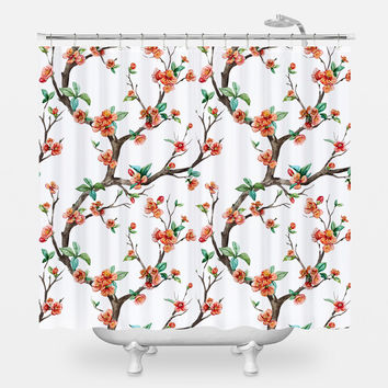 Cheery Cherry Blossom Shower Curtain