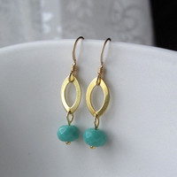 Teal Green Vintage Glass on Marquise Gold Ring Earrings, classy everyday wear
