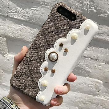GUCCI Tide brand color matching pearl iPhone 8 leather phone case cover White