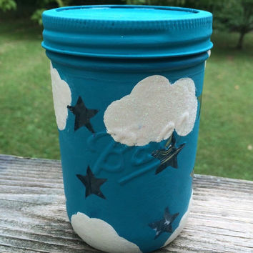 Stars and clouds aqua blue mason jar night light. LED night light. Star night light. Blue star LED light