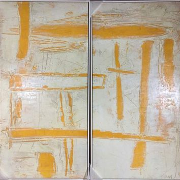 Mid-Century Modern Style Abstract Orange & White Dipytych Paintings