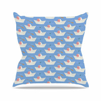 "Cristina bianco Design ""Paper Cat Pattern"" Coral Blue Outdoor Throw Pillow"