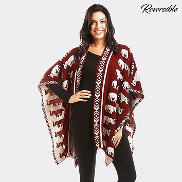 Reversible Elephant Patterned Shawl Poncho
