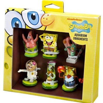 AQUATICS - ORNAMENTS/DECOR - SPONGEBOB MINI 6PC ORNAMENTS - GIFT PACK - PENN PLAX INC - UPC: 30172080944 - DEPT: AQUATIC PRODUCTS