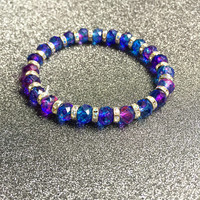 Blue Ombré Bracelet|Blue and Purple Ombré Bracelet|Blue Purple Glass Bead Bracelet|Ombre Bracelet|Gift For Her