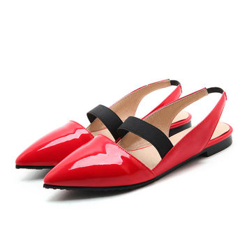 Women Pumps Slingback Square Low Heel Pumps Patent Leather Elastic Band Sexy Summer Autumn Casual DressLadies Heeled Shoes Red