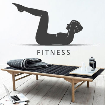 Wall Decor Vinyl Sticker Room Decal Fitness Sport Lifestyle Motivation Health Woman Girl (s236)