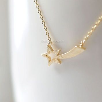 Gold Shooting Star Necklace, star necklace in gold, bridesmaid gifts, birth day gift, everyday dainty handmade necklace,