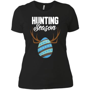 Hunting Season Cute Bunny Funny Easter T-Shirt Boys Girls Next Level Ladies Boyfriend Tee