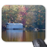 Pretty Reflection - Boathouse by the Water Mouse Pad