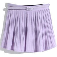 purple pleated belted chiffon skirt