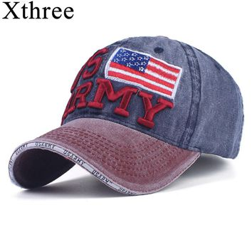 Xthree 100% Washed Cotton Baseball Caps Men Summer Cap Embroidery Casquette Dad Hat for Women Gorras Planas snapback Hat Army