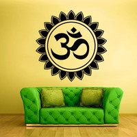 Wall Decal Vinyl Sticker Decals Hindu Om Circle Yoga Symbol Buddha Indian (z1368)