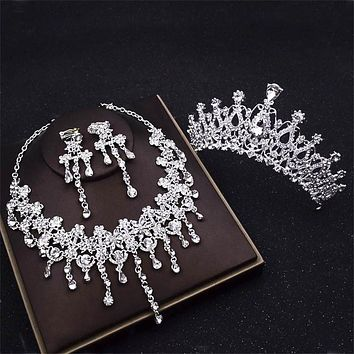 Bridal Tiaras Crown Crystal Jewelry Set Necklaces Earrings