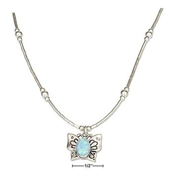 "Sterling Silver Necklace:  16"" Liquid Silver And Synthetic Blue Opal Butterfly Necklace"