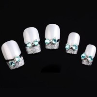 Yesurprise Blue Bow Tie 10 pieces Silver 3D Alloy Nail Art Slices Glitters DIY Decorations