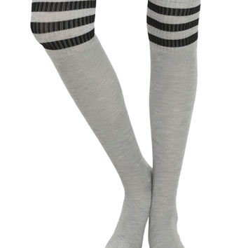 Grey & Black Striped Over-The-Knee Socks