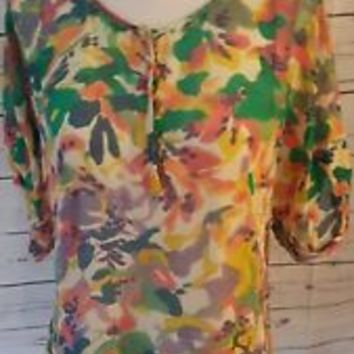 Broadway & Broome Madewell Silk Floral Short Sleeve Semi Sheer Top size S Small