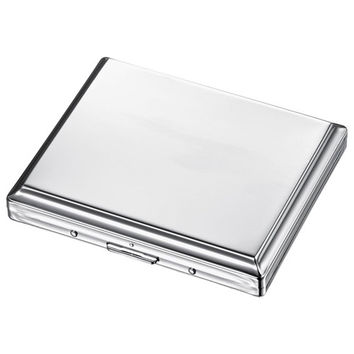 Visol Dexter Polished Chrome Cigarette Case - Holds 18 Cigarettes
