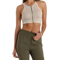 Oatmeal Zip-Up Ribbed Racerback Crop Top by Charlotte Russe