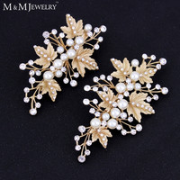 Mecresh 2pcs/set Simulated Pearl Gold Plated Leaves Hairpins Wedding Jewelry Bridal Hair Accessories TS024