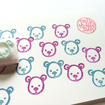 bear rubber stamp. hand carved rubber stamp. teddy bear face. small. for small diy projects. craft with children.