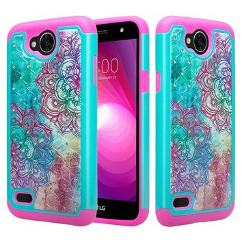 LG X Power 2 Case, LG Charge, LG Fiesta LTE Crystal Rhinestone Hybrid Dual Layer[Shock Resistant] Slim Protective Cover - Teal Flower