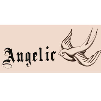 Angelic Gothic Text with Bird Temporary Tattoo Set