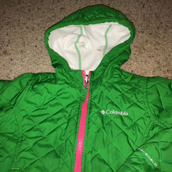 Sale!! Vintage COLUMBIA Sportswear Company kids' reversible green/white hooded jacket size 4/5 XXS