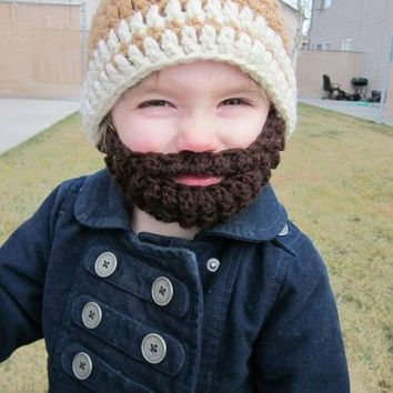 Kids ULTIMATE Bearded Beanie Warm Brown