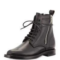 Side-Zipper Lace-Up Boot - Saint Laurent - Noir