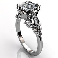 14k white gold diamond unusual unique cluster floral engagement ring, bridal ring, wedding ring ER-1073-1
