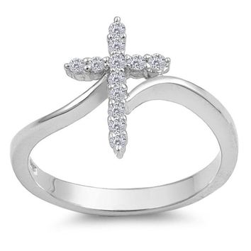Choose Color Womens Girls Religious Cross Ring Rhodium Plated Sterling Silver Pave CZ Cross Ring
