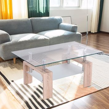 Goplus Rectangular Glass Coffee Table with Storage Shelf Modern Wood Legs Side Coffee Table Living Room Home Furniture HW52022