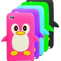 The Friendly Swede Basics - Bundle of 5 Apple iPod Touch 4 4G 4th Gen Penguin Soft Silicone Rubber Skins Covers Cases + Microfiber Cloth:Amazon:Electronics