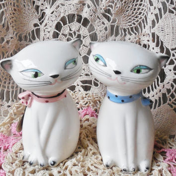 Holt Howard Cozy Kittens Salt & Pepper Shakers, 1958 Vintage Collectible Cats, Valentine's Day Cats