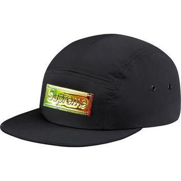 Supreme Iridescent Logo Camp Cap - Black