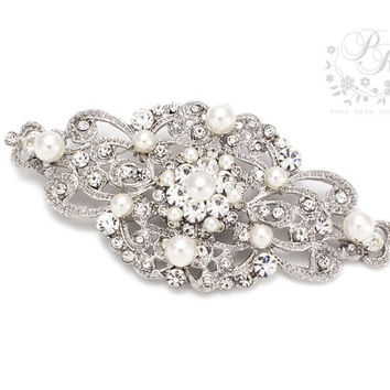 Wedding Brooch Swarovski Pearl Rhinestone Brooch Bridal brooch Wedding accessories bridal accessories Aimee