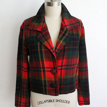 Vintage 90s Red & Green Plaid Wool Cropped Jacket // Women's Flannel Coat