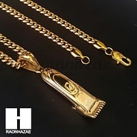 Iced Out 316L Stainless steel Gold Barber Clipper Trimmer Pendant SS017