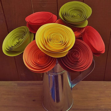 Paper Flower Bouquet - Autumn Reds, Oranges, Yellows & Greens - Large Handmade Rolled Paper Flower Bouquet for Brides, Fall Weddings, Autumn