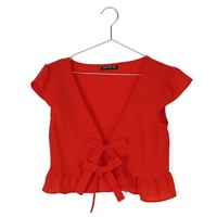 Ruffle Front Crop Top