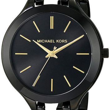 ONETOW Michael Kors Women's Midnight Safari Slim Runway Twist Watch, Black, One Size